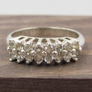 Size 7 Sterling Cluster CZ Diamond Band Ring